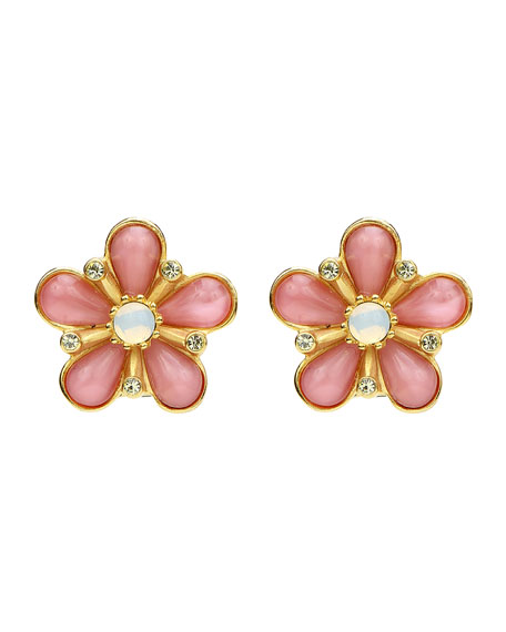 Ben-Amun Flower Opal Crystal Clip-On Earrings