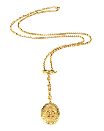 Fleur-De-Lis Long Locket Necklace