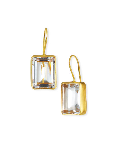 Emerald-Cut Quartz Drop Earrings