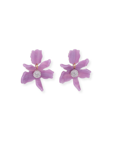 Lele Sadoughi Accessories SMALL CRYSTAL LILY DROP EARRINGS, LILAC