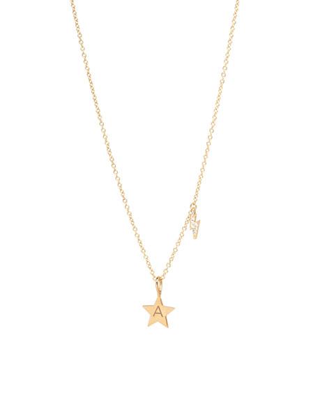 Zoe Chicco 14k Engraved Initial Star Necklace w/ Diamond Bolt