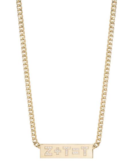 Zoe Chicco Custom Initial Equation 14k Diamond Engraved ID Necklace