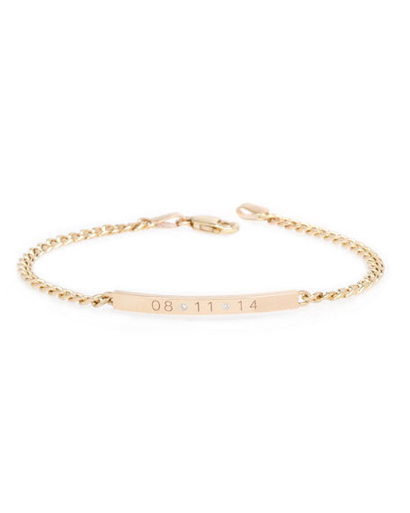Zoe Chicco Personalized 14k Small Curb-Chain Date Bracelet