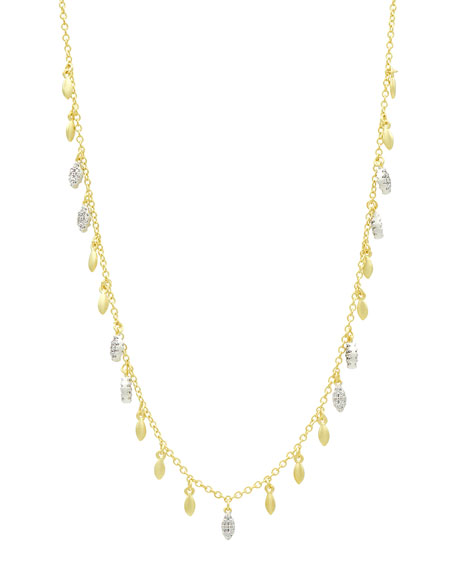Freida Rothman Fleur Bloom Empire Pave Leaflet Necklace