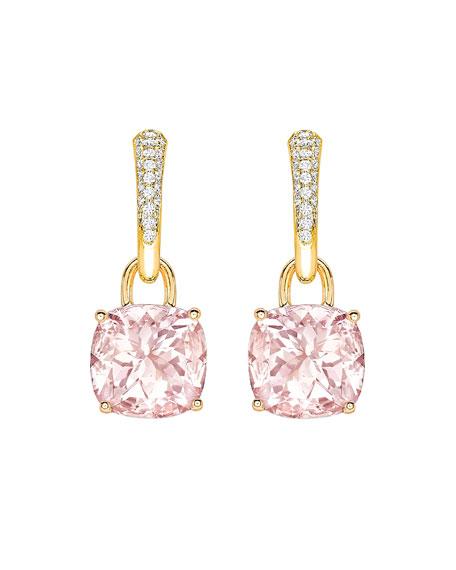 Kiki McDonough Kiki Classics 18k Gold Morganite & Diamond Tapered Hoop Earrings