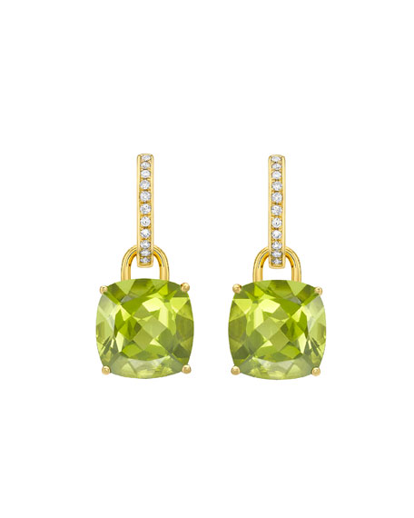 Kiki McDonough Kiki Classics 18k Gold Peridot Drop & Diamond Hoop Earrings
