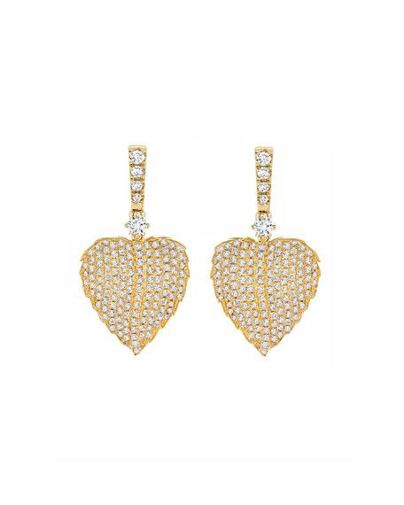 Kiki McDonough Lauren 18K Gold Full Diamond Leaf Drop Earrings