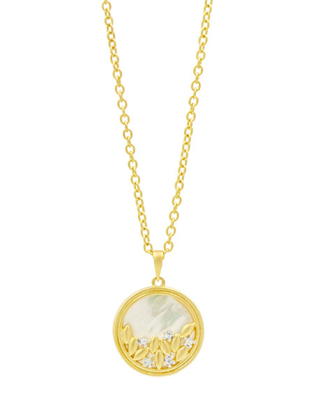 Freida Rothman Fleur Bloom Mother-of-Pearl Long Round Pendant Necklace