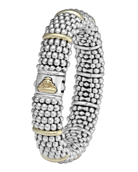 LAGOS Silver Caviar Oval Bracelet with 18k Gold, 15mm