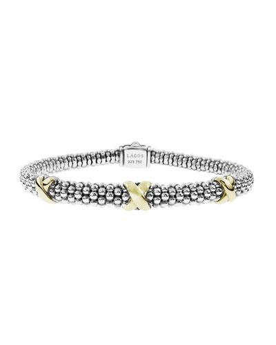 Silver & 18k Gold Caviar X Bracelet  6mm