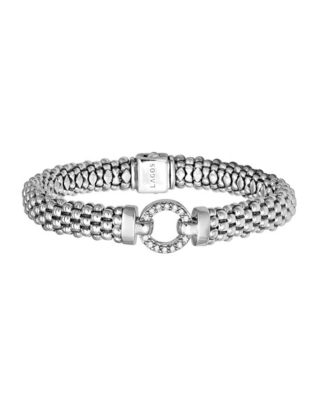 Image 1 of 2: Lagos Enso Diamond Caviar Rope Bracelet, 9mm