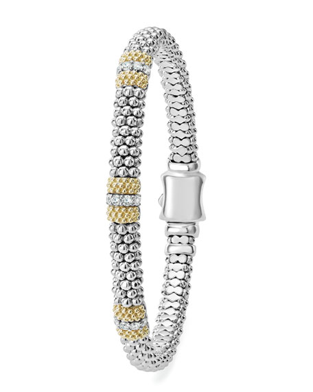 Image 2 of 5: Lagos 6mm Diamond Lux Three-Station Bracelet