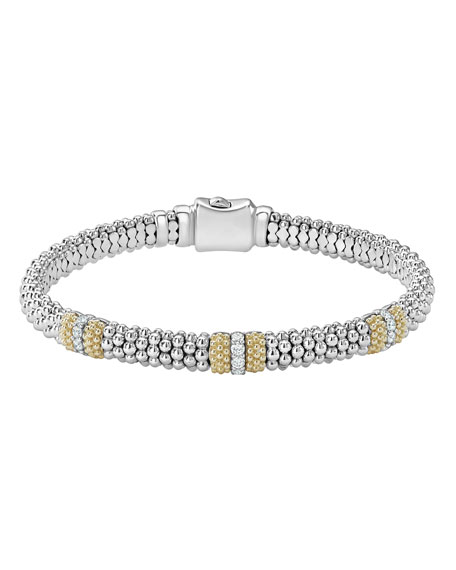 Image 1 of 5: Lagos 6mm Diamond Lux Three-Station Bracelet