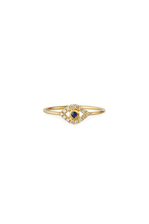 Sydney Evan 14k Diamond Pave Evil Eye Ring, Size 6.5