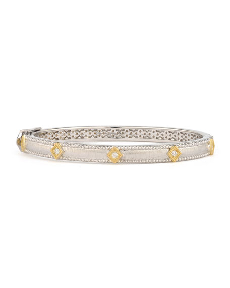 Jude Frances Mixed Metal Lisse Simple Kite Shaped Bangle w/ Diamonds