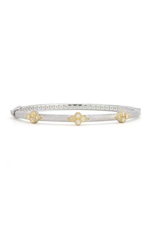 DiamondJewelryNY Eye Hook Bangle Bracelet with a Plain Disc Charm.