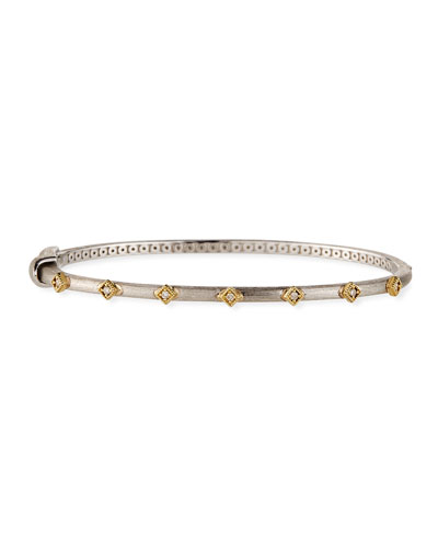 Mixed Metal Diamond Kite Bangle