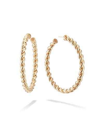 14k Thin Braid Hoop Earrings  50mm