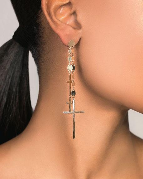 LANA 14k Multi-Cross Dangle Earrings