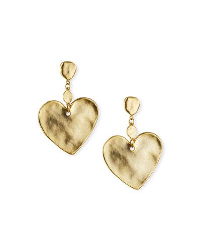 Hammered Heart-Drop Earrings