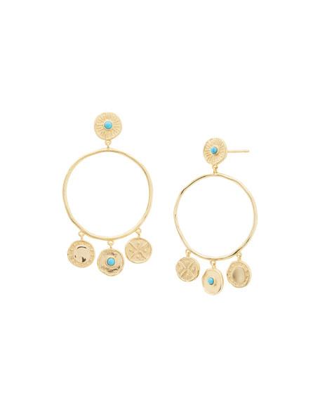 gorjana Cruz Coin Drop Hoop Earrings w/ Stones