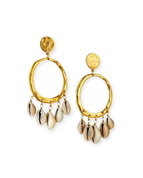 Sequin Hoop-Dangle Shell Earrings