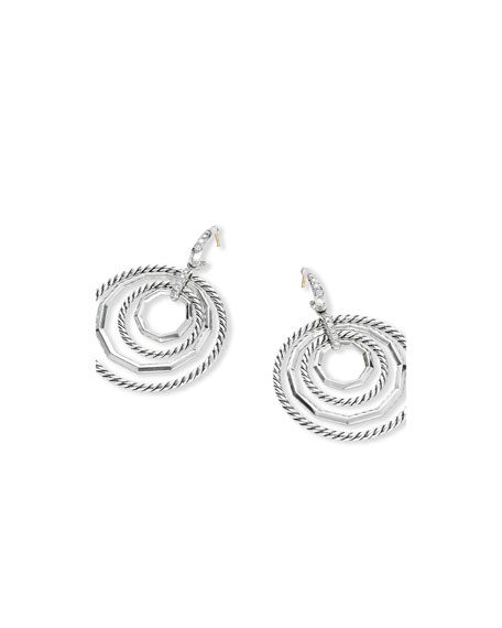 David Yurman Stax Large Door-Knocker Earrings w/ Diamonds