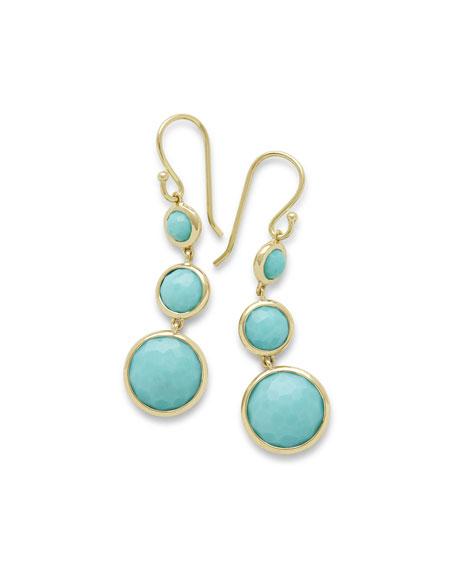 Ippolita 18k Lollipop® Three-Stone Drop Earrings in Turquoise