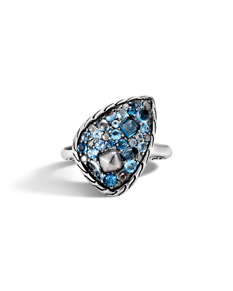 John Hardy Classic Chain Blue Topaz Ring
