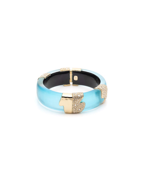 Alexis Bittar Crystal Encrusted Sectioned Hinge Bracelet, Turquoise