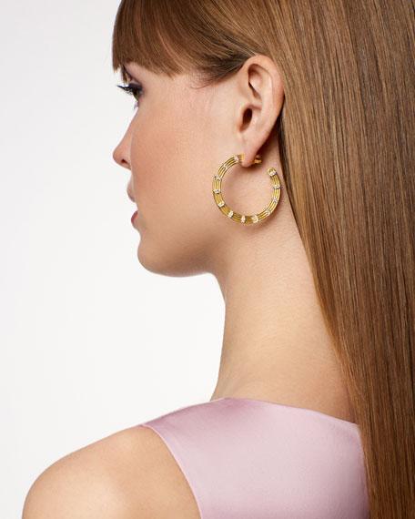 Freida Rothman Fleur Bloom Empire Wide Hoop Earrings, Yellow Gold