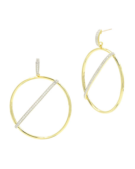 Freida Rothman Radiance Pave Bar-Front Hoop Earrings, Yellow Gold