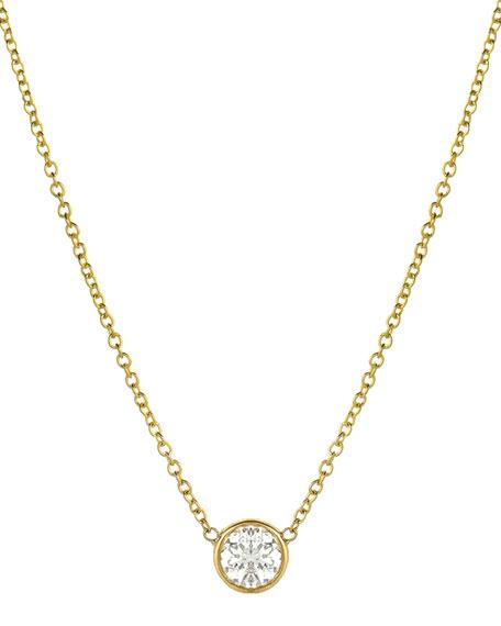 Zoe Lev Jewelry 14k Large Diamond-Bezel Necklace