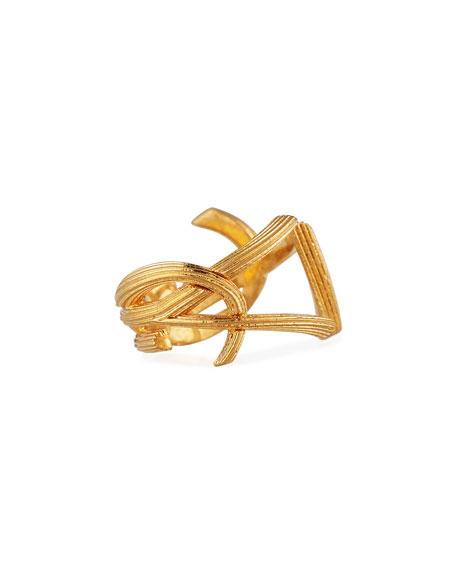 Saint Laurent YSL Monogram Split Ring, Size 7