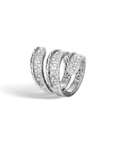 Classic Chain Diamond Pave Wrap Ring  Size 7