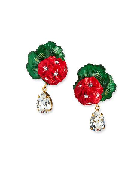 Dolce & Gabbana Geranium & Crystal Earrings