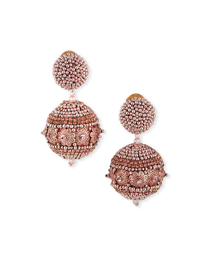 Beaded Ball Earrings  Rose Gold
