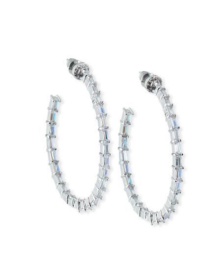 Fallon Crystal-Baguette Hoop Earrings