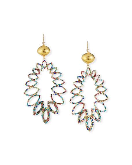 Devon Leigh Multicolor Crystal & Gold Drop Earrings