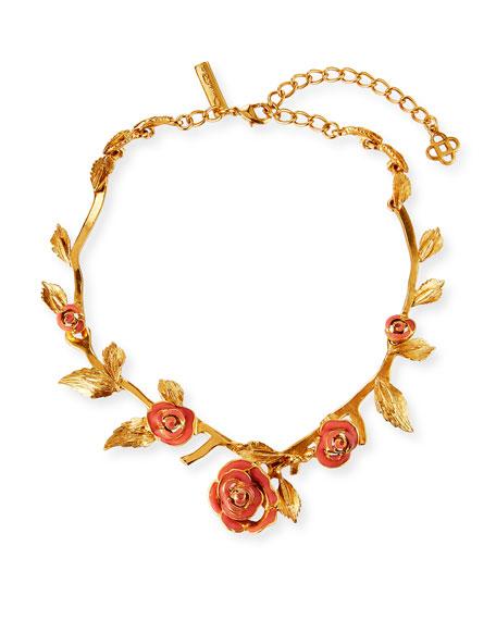 Oscar de la Renta Petite Matte Rose Necklace, Coral