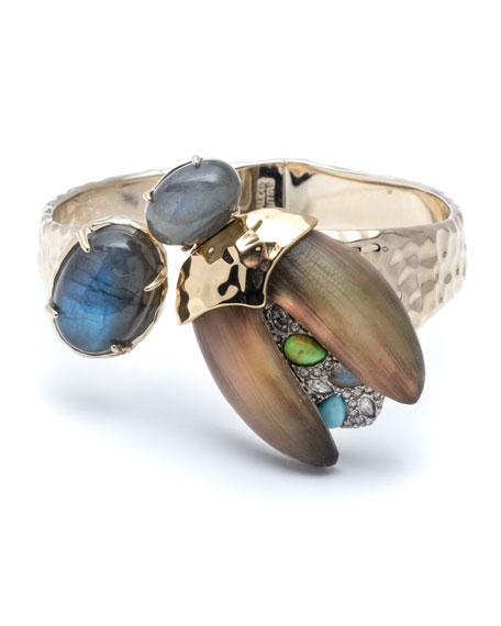 Alexis Bittar Crystal Encrusted Scarab Brake-Hinge Bracelet