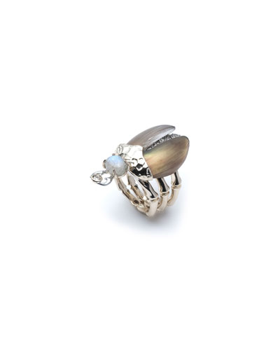 Crystal Encrusted Scarab Ring  Size 6