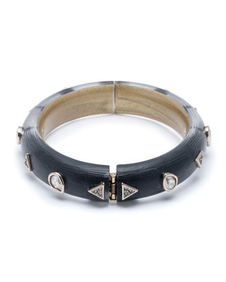 Alexis Bittar Crystal Pear Studded Hinge Bracelet, Black