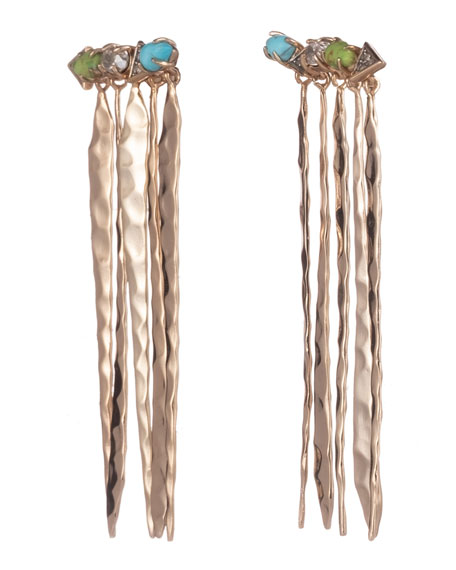 Alexis Bittar Multi-Stone Hammered Fringed Post Earrings