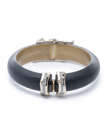 Alexis Bittar Orbiting Bamboo Crystal Encrusted Hinge Bracelet, Black