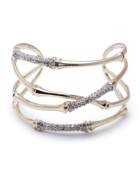 Alexis Bittar Orbiting Bamboo Crystal Encrusted Cuff Bracelet In Two Tone