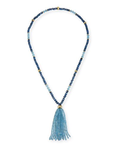 Aquamarine & Kyanite Tassel Necklace