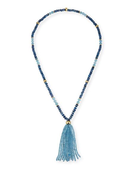 NEST Jewelry Aquamarine & Kyanite Tassel Necklace