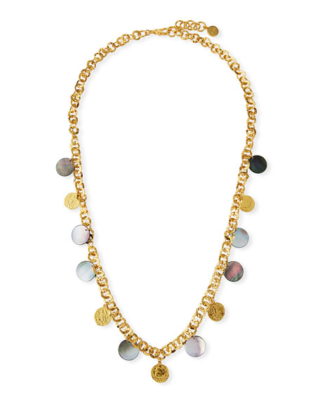 "NEST Jewelry Long Coin & Mother-of-Pearl Necklace, 38""L"