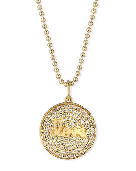 Sydney Evan 14k Love Script Diamond Pave Medallion Necklace